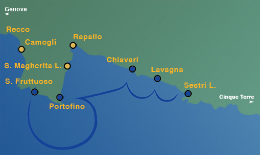 Ligne 2: Sestri Levante, Lavagna, Chiavari, Portofino, San Fruttuoso