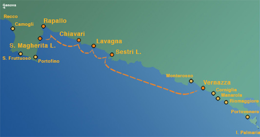 Linea 4: Santa Margherita Ligure / Rapallo – Super Cinque Terre (Riomaggiore-Monterosso-Vernazza -Manarola)
