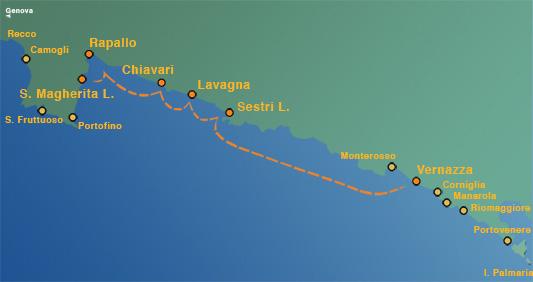 Ligne 4: Rapallo – Santa Margherita Ligure – Cinq Terres (Riomaggiore, Vernazza, Manarola, Monterosso) (toute la journée)
