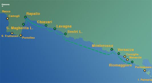 Ligne 5: Chiavari / Lavagna / Sestri Levante – Super Cinque Terre  (Riomaggiore – Vernazza – Manarola – Monterosso) (toute la journée)