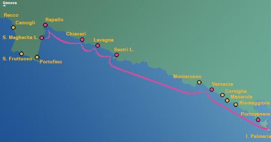 Ligne 6: Santa Margherita Ligure, Rapallo, Chiavari, Lavagna, Sestri Levante – Cinque Terre après-midi
