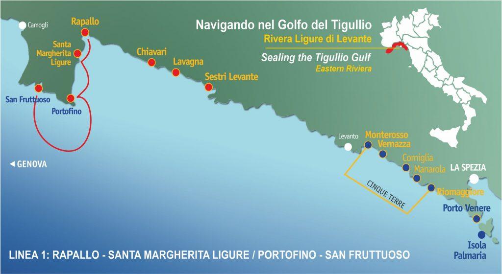 Ligne 1: Rapallo, Santa margherita Ligure, Portofino, San Fruttuoso.