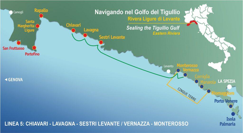 Ligne 5: Chiavari / Lavagna / Sesti Levante – Super Cinque Terre  (Riomaggiore – Vernazza – Monterosso) Toute la journée.