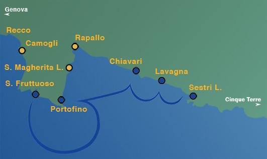 Linea 2: Deiva Marina, Moneglia, Sestri Levante, Lavagna, Chiavari, Portofino, San Fruttuoso