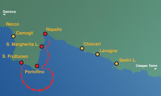 Linea 1:  Rapallo, Santa margherita Ligure, Portofino, San Fruttuoso