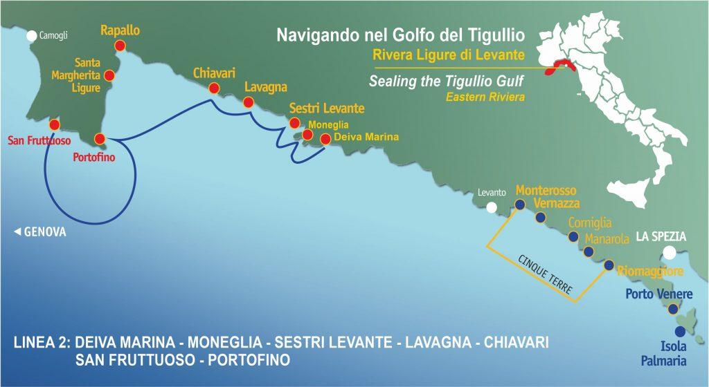 Linea 2: Sestri Levante, Lavagna, Chiavari, Portofino, San Fruttuoso