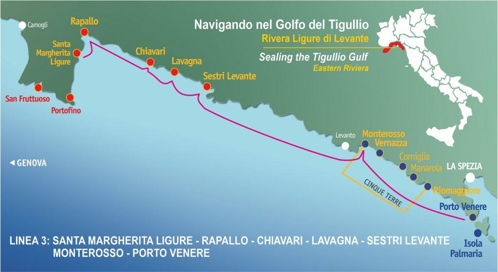 Linea 3: Santa Margherita Ligure, Rapallo, Chiavari, Lavagna, Sestri Levante – Porto Venere e Cinque Terre (Monterosso) (tutto il giorno)